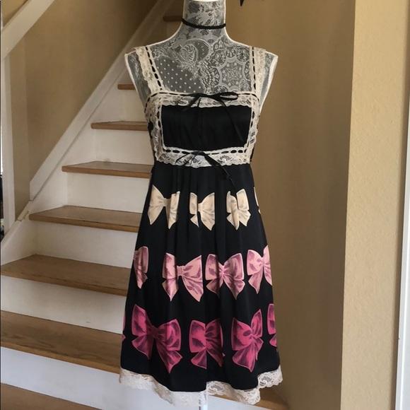 f72a29aee417d Betsey Johnson Dresses | Vintage Silk Bow Babydoll Dress | Poshmark
